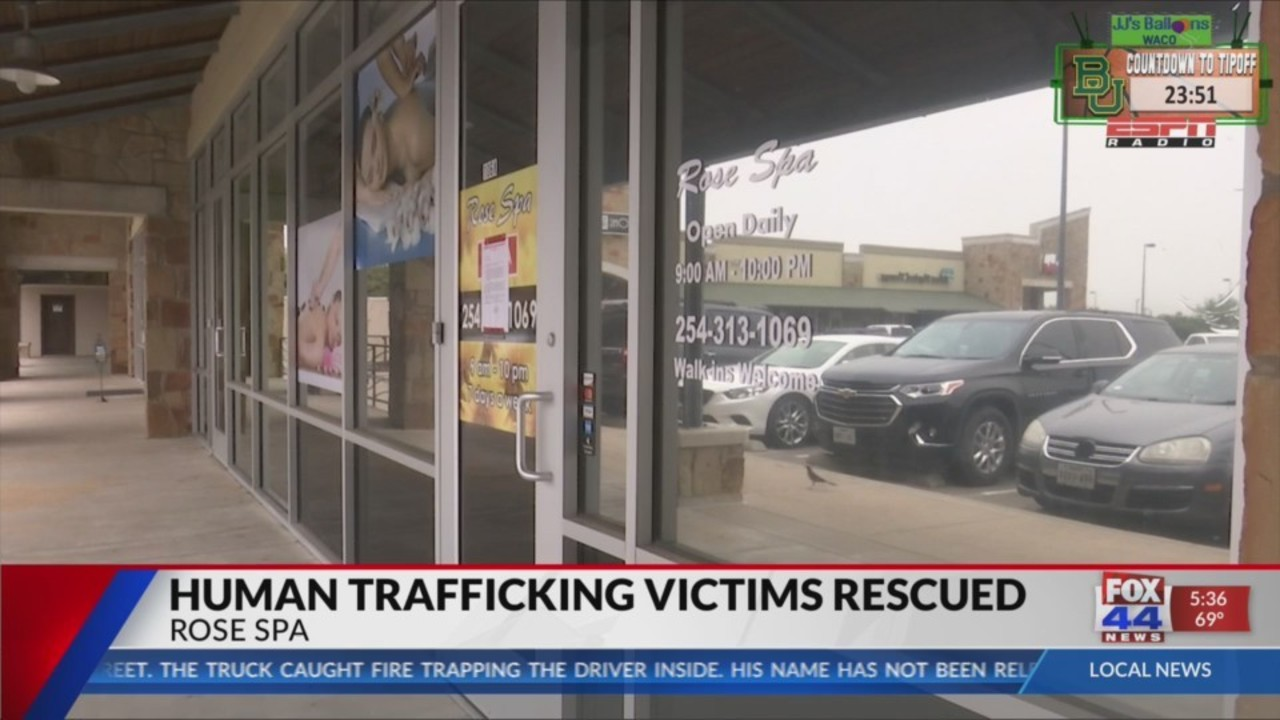 Two human trafficking victims rescued after massage parlor raid in Waco, TX.
